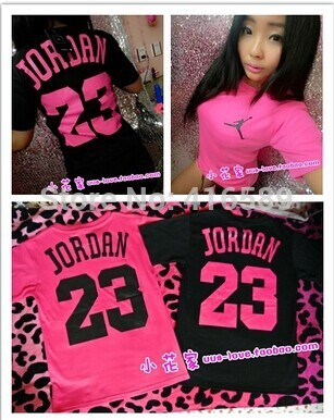 100% cotton Summer fashion street AJ jordan 23 o neck neon pink short sleeve girl boy sport t shirt plus size-in Apparel & Accessories on Aliexpress.com