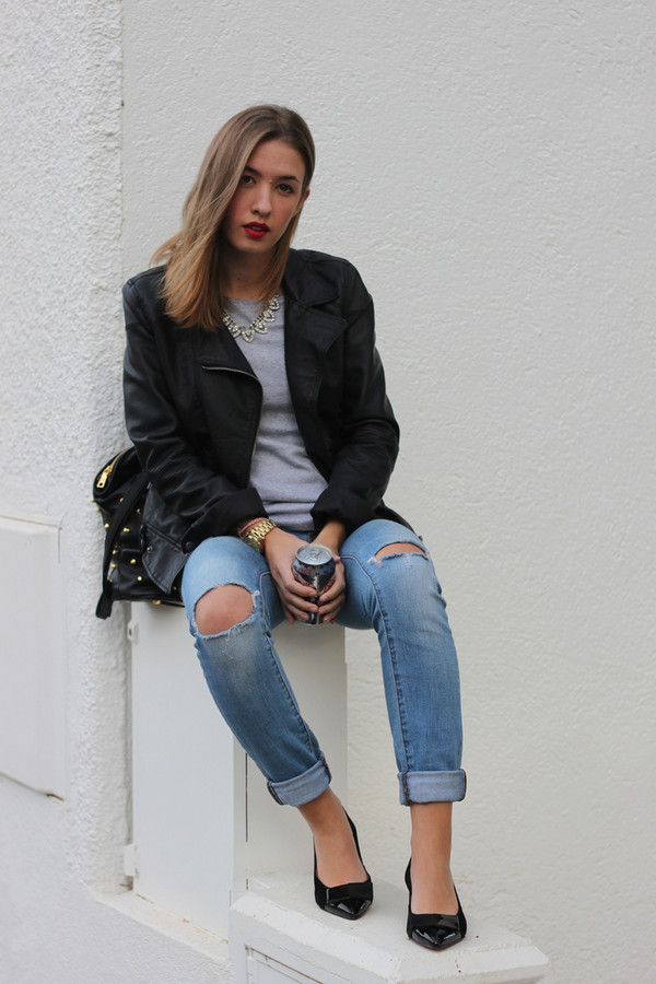 say queen jacket jeans bag shoes