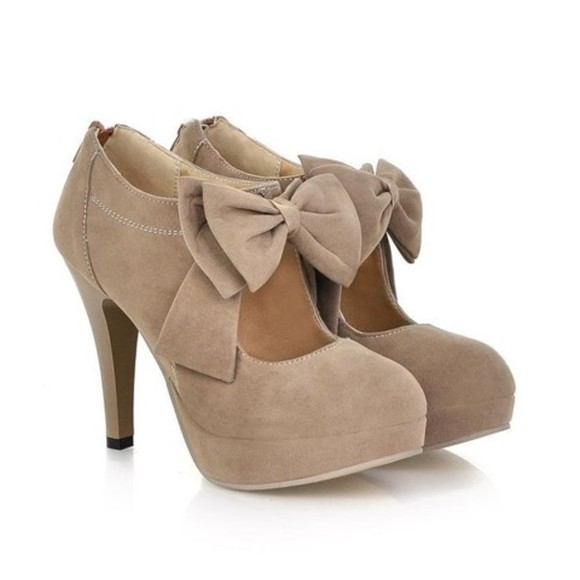 shoes mary jane high heels bows nude zip