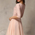 Pink Half Sleeve Lace Bead Chiffon Dress - abaday.com