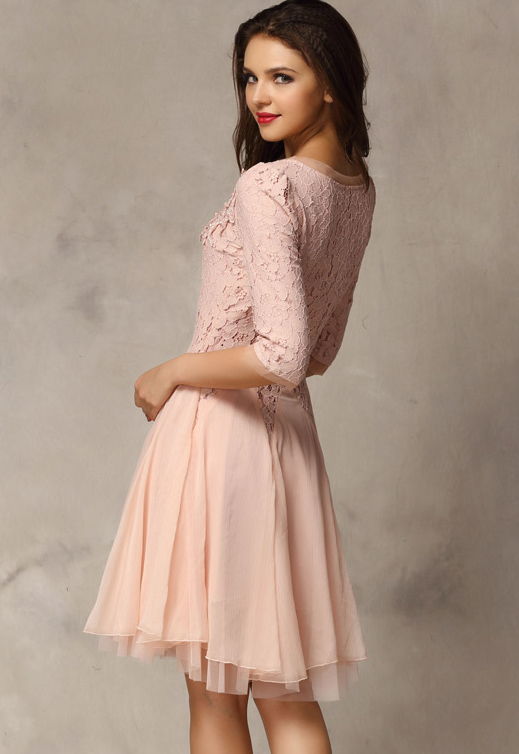 Pink Half Sleeve Lace Bead Chiffon Dress - abaday.com