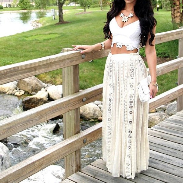 Top: lace, crop tops, white, long, flowy, skirt, high waisted ...