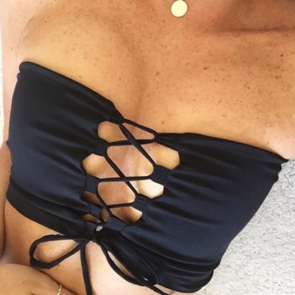swimwear bikini black bikini criss cross