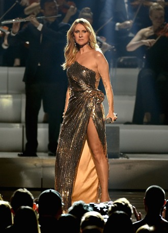 dress celebrity style celebrity singer gold dress slit dress one shoulder dress one shoulder