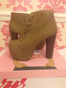 Jeffrey campbell litas taupe size 6 brand new ankle boot lace up platform heels