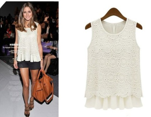 white blouse lace shirt white lace top olivia palermo celebrity style celebrity style steal celebrity celebrities celebrity  fashion sleeveless sleeveless top lace flowy top white summer top white , cream , pastel , crop top , lace