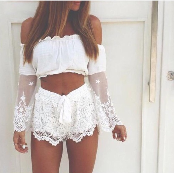 Top: white, cream, tan, summer, lace, crop tops, coachella, boho ...