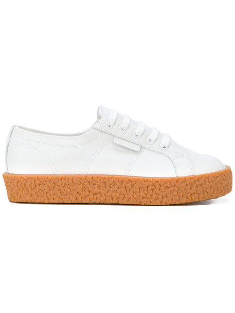Superga women sneakers lace leather white cotton shoes