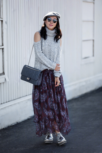 fit fab fun mom blogger sweater skirt shoes bag sunglasses jewels maxi skirt turtleneck sweater grey sweater shoulder bag beret metallic shoes oxfords grey cable knit sweater cut-out shoulder top cut out shoulder cable knit grey hat