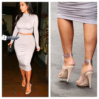 kim kardashian celebrity style high heels pencil skirt two-piece shoes