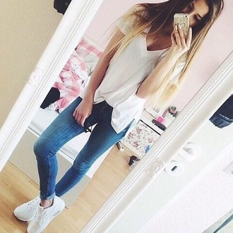 t-shirt white jeggings jeans white t-shirt