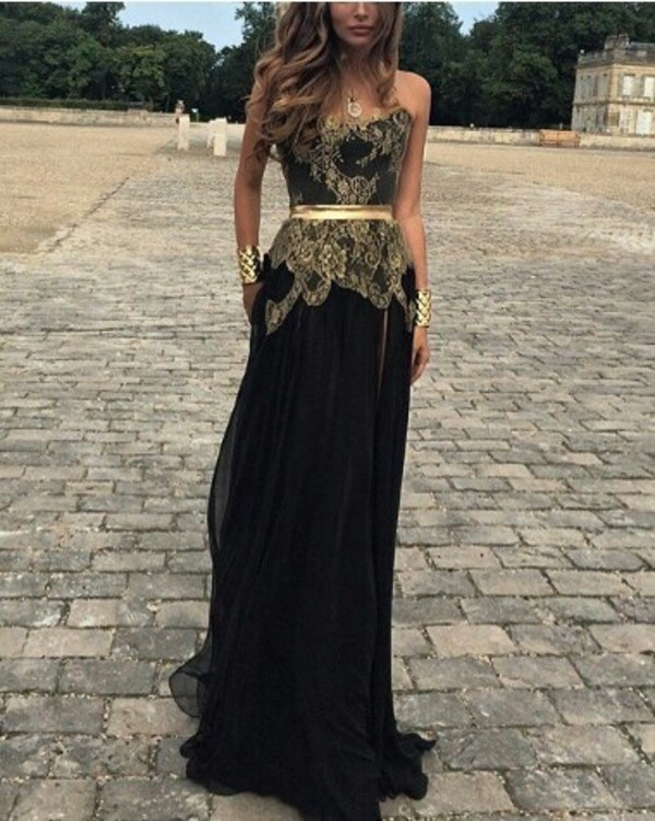 black gold lace dress lace long prom dress strappless dress prom dress