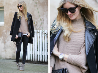passions for fashion blogger black coat winter sweater beige