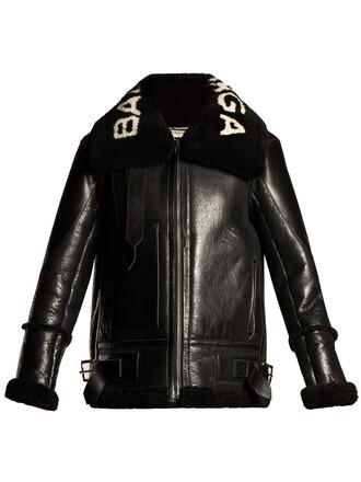 jacket shearling jacket white black
