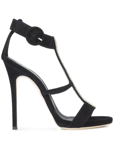 GIUSEPPE ZANOTTI DESIGN women embellished sandals leather suede black shoes