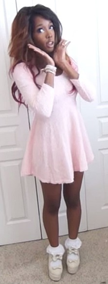 pink cute dress soft crystal ezeoke thelovelyify gal gyaru gyaru fashion lolita lolita fashion lolita shoes socks frilly socks pastel pastel pink white long sleeve dress cute dress kawaii girly
