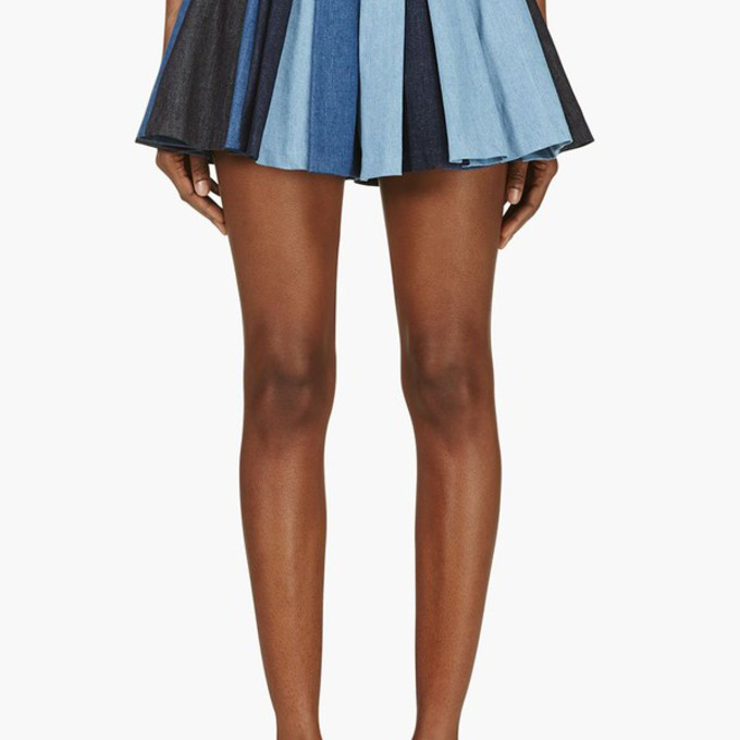 pleated blue skirt denim malalu pleated skirt blue