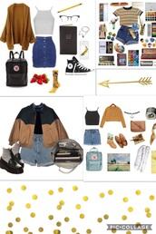 bag,jacket,skirt,art hoe,denim skirt,cardigan,crop tops,bomber jacket,vintage,cute