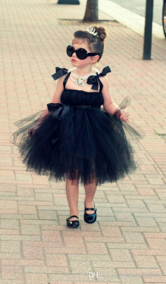 Discount Black 2015 Straps Flower Girl's Dresses Ball Gown Zip Back Tulle Knee Length Tulle Lovely Girls Pageant Dresses Under $100 Cheap Party Dress Online with $74.61/Piece | DHgate