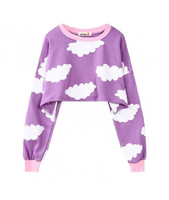 sweater cropped purple long sleeves teenagers clouds trendy cool it girl shop