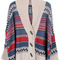Khaki shawl collar tribal striped pattern cardigan - sheinside.com