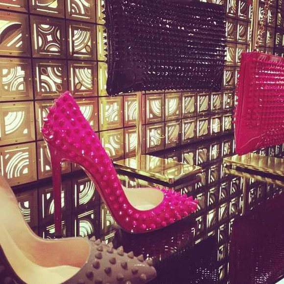 shoes spiked shoes hot pink pink high heels pointy toe heels