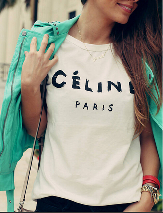 t-shirt top t shirt print brand t-shirt white t-shirt chanel