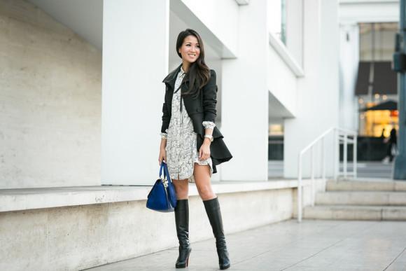 blogger print bag wendy's lookbook jacket black boots