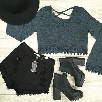 top lace teal shorts denim black