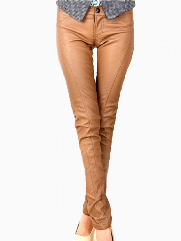 Brown PU Skinny Pants | Choies