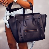bag,leather,black,celine,black bag,gold details,style,leather bag,belt,purse,handbag,girly,crossbody bag,short shorts,love,jacket,lovely style,black hand bag,celine bag
