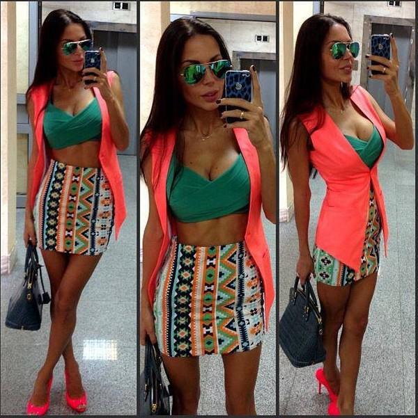 shirt bra aztec shoes skirt sunglasses