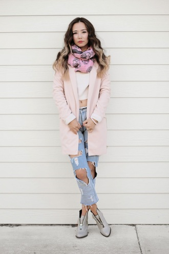 blogger boots different cands scarf pink coat skull ripped jeans