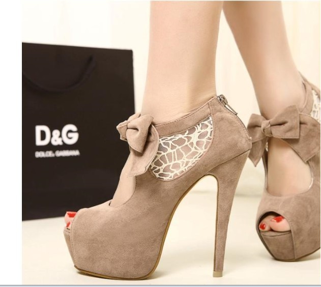 2013 new fashion lace wedding bowknot peep toes high heels platform shoes sandalias women motorcycle ankle boots botas-in Boots from Shoes on Aliexpress.com