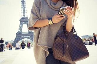 bag accessories grey denim ring jeans nail polish jumpsuit paris france classy phone nude people oversized louis vuitton luis vuitton feminine brunette