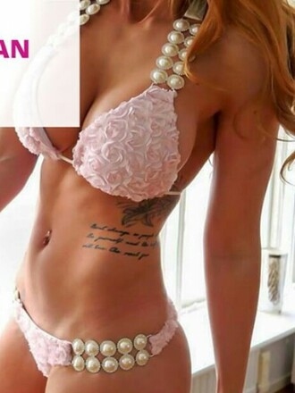 swimwear bikini rose roses summer pearls