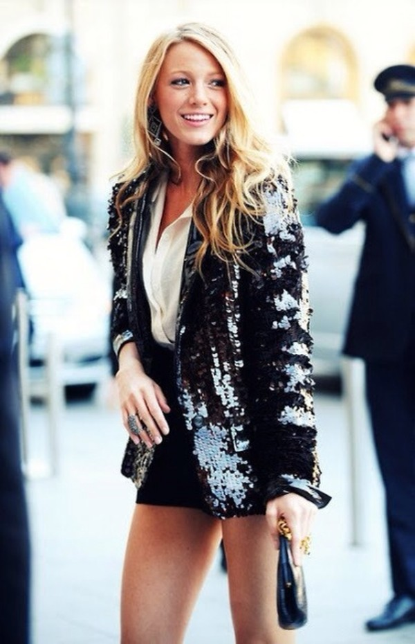 jacket blake lively serena van der woodsen black bag blouse paillettes sequins sequins party blake lively sequin jacket black jacket party ootd party outfits
