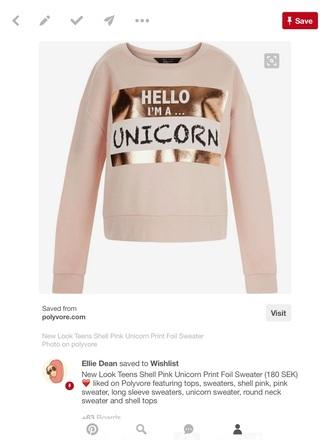 sweater hello i am a unicorn cute pink
