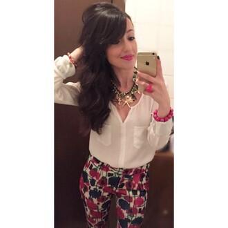 pants zara blouse white shirt gold chain necklace