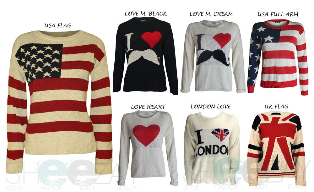 New women's brace flag, icon's , love heart, mustache jumpers, top , sweater