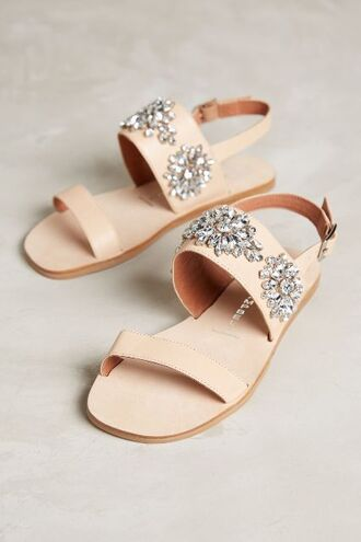 shoes jeweled sandals embellished sandals nude sandals sandals flat sandals