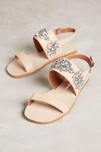 shoes jeweled sandals embellished sandals nude sandals sandals flat sandals