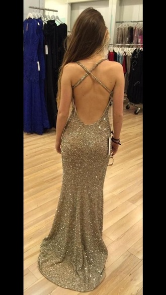 dress backless prom dress gold sequins floor length dress