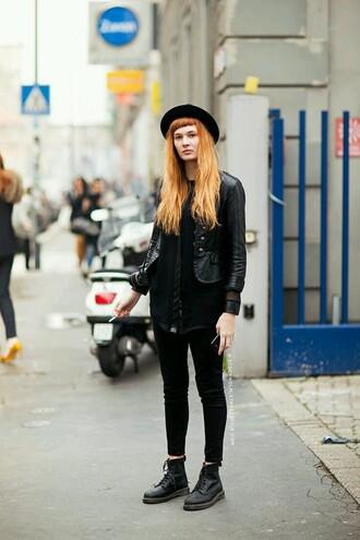 hat widebrim hat black hat orange hair