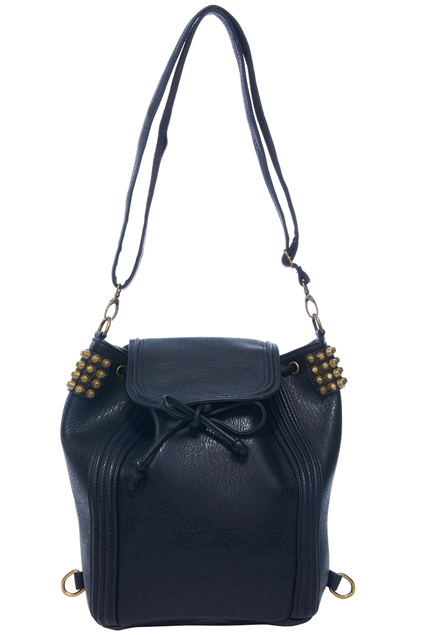 ROMWE | Side Rivets Embellished Black Backpack, The Latest Street Fashion