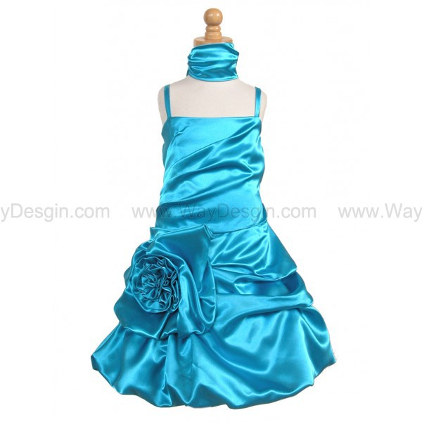 flower girl dress turquoise satin bubble dress flower girl dress 2014