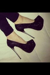 shoes,black pumps,stilettos,high heels,high heel pumps,heels,black,sparkle,tall,prom shoes,platform shoes,glitter,black heels,sequins,high,black high heels,pretty,beautiful,perfect,fancy,glamour,fashion,clear,sparkly heels,prom heels,transparent,transparent heels,black glitter,glitter shoes,little,clothes,girl,glitter heels