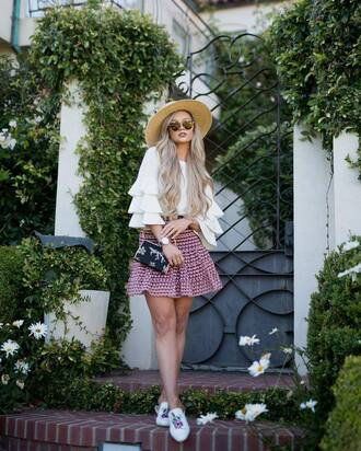 top hat tumblr white top bell sleeves ruffle skirt mini skirt shoes mules sun hat bag