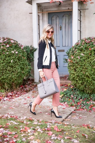 suburban faux-pas blogger blouse pants sunglasses shoes bag jewels bomber jacket pink pants handbag high heels