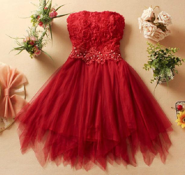 Cute stereo rose flower bud silk short strapless dress